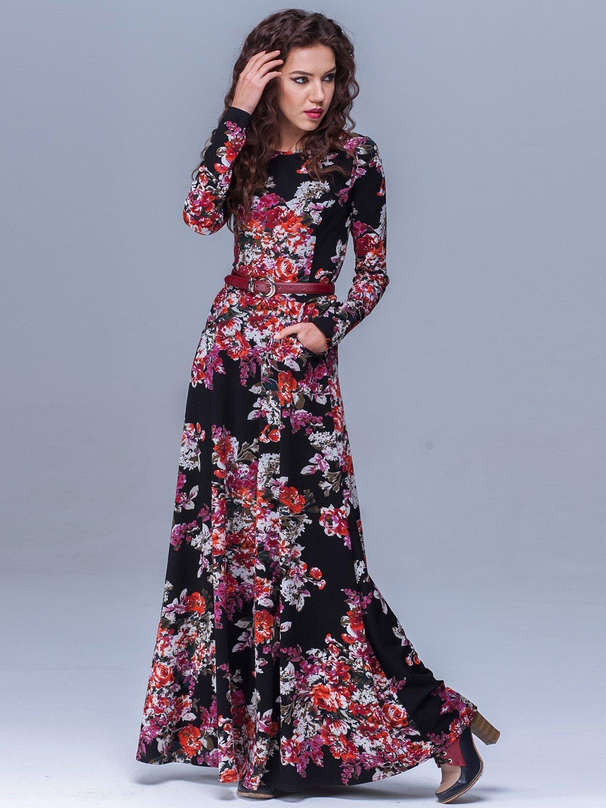 Платье черное в цветочный принт | 1409727