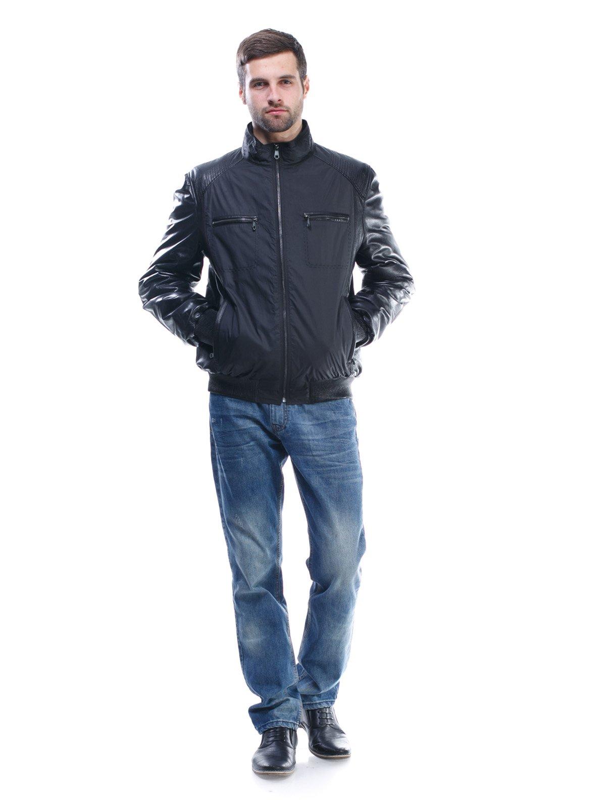 Куртка чорна комбінована | 1425603