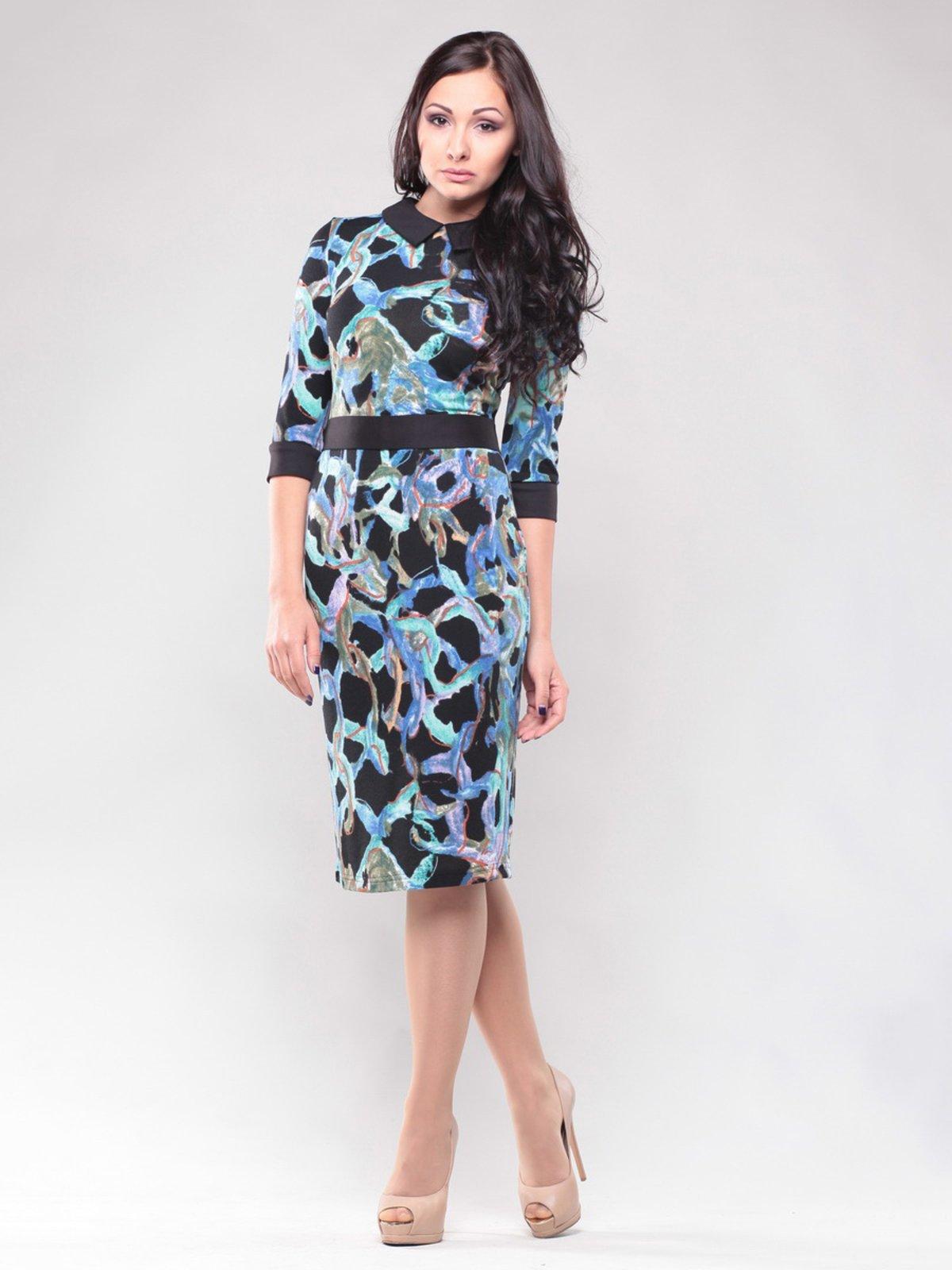 Платье черное в абстрактный принт   1428353