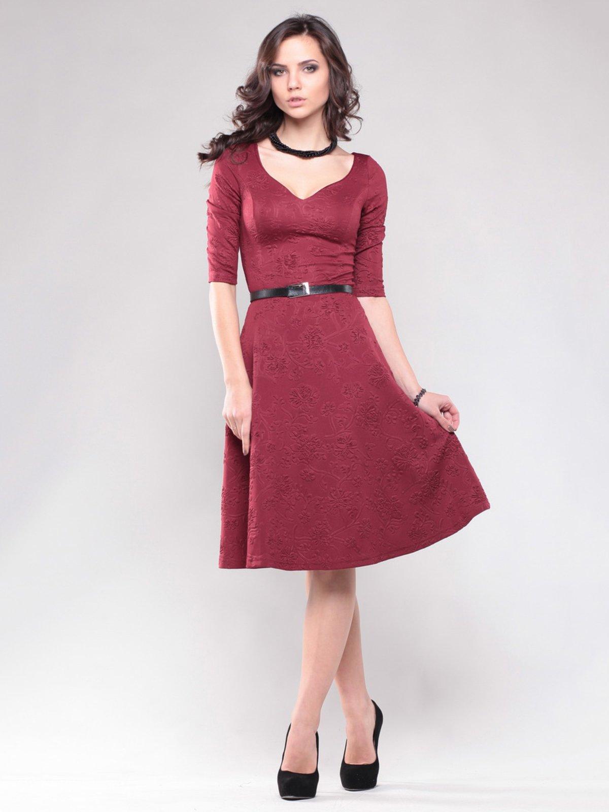 Платье бордовое в узор | 1428377