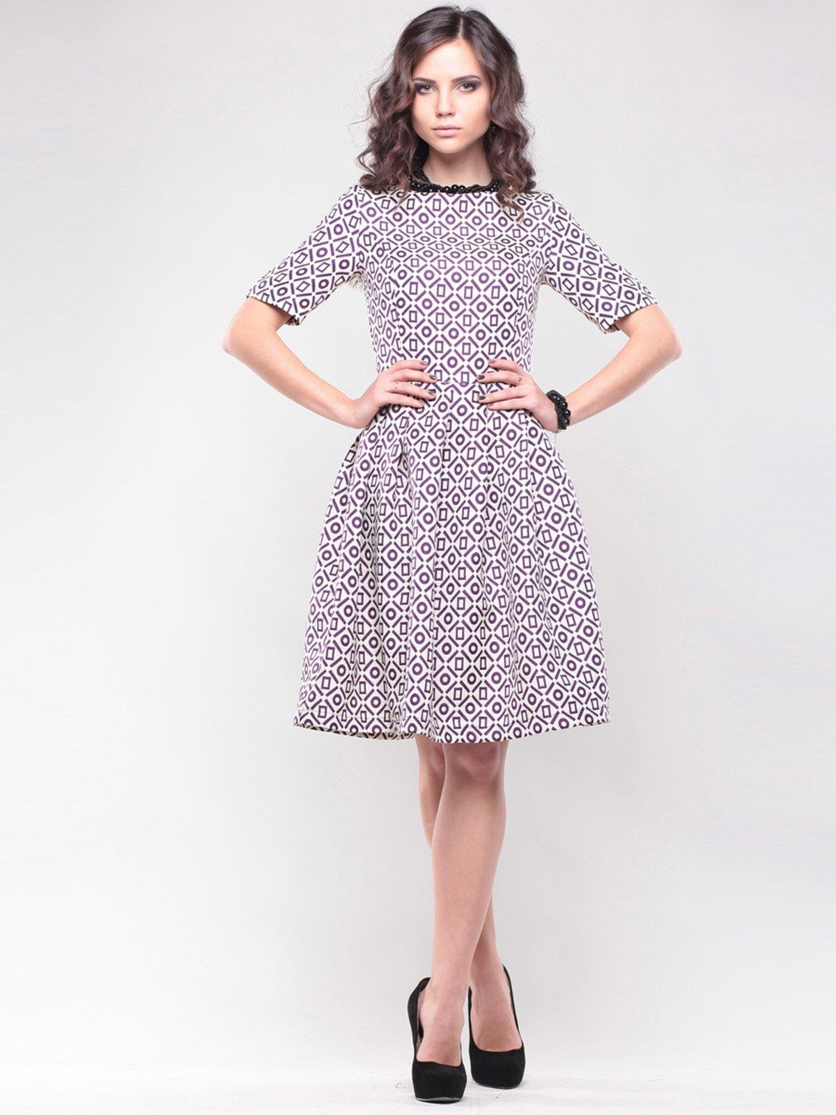 Платье бело-сиреневое в принт | 1438922