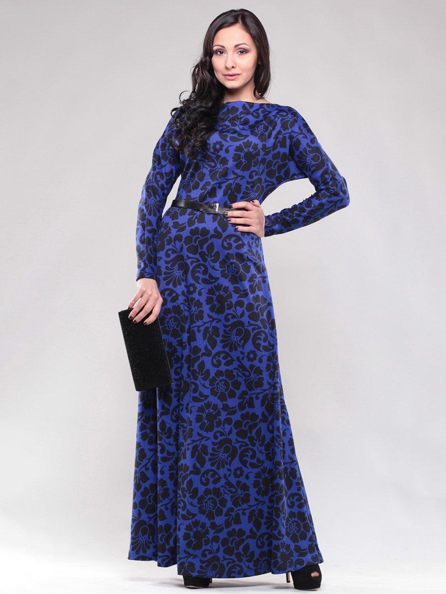 Сукня синя в квітковий принт | 1469158