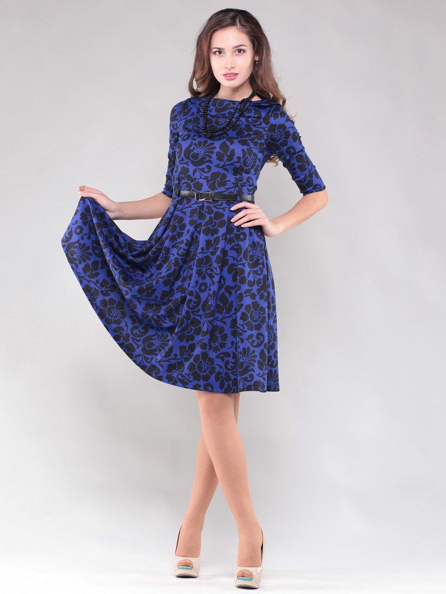 Платье синее в узор | 1469290