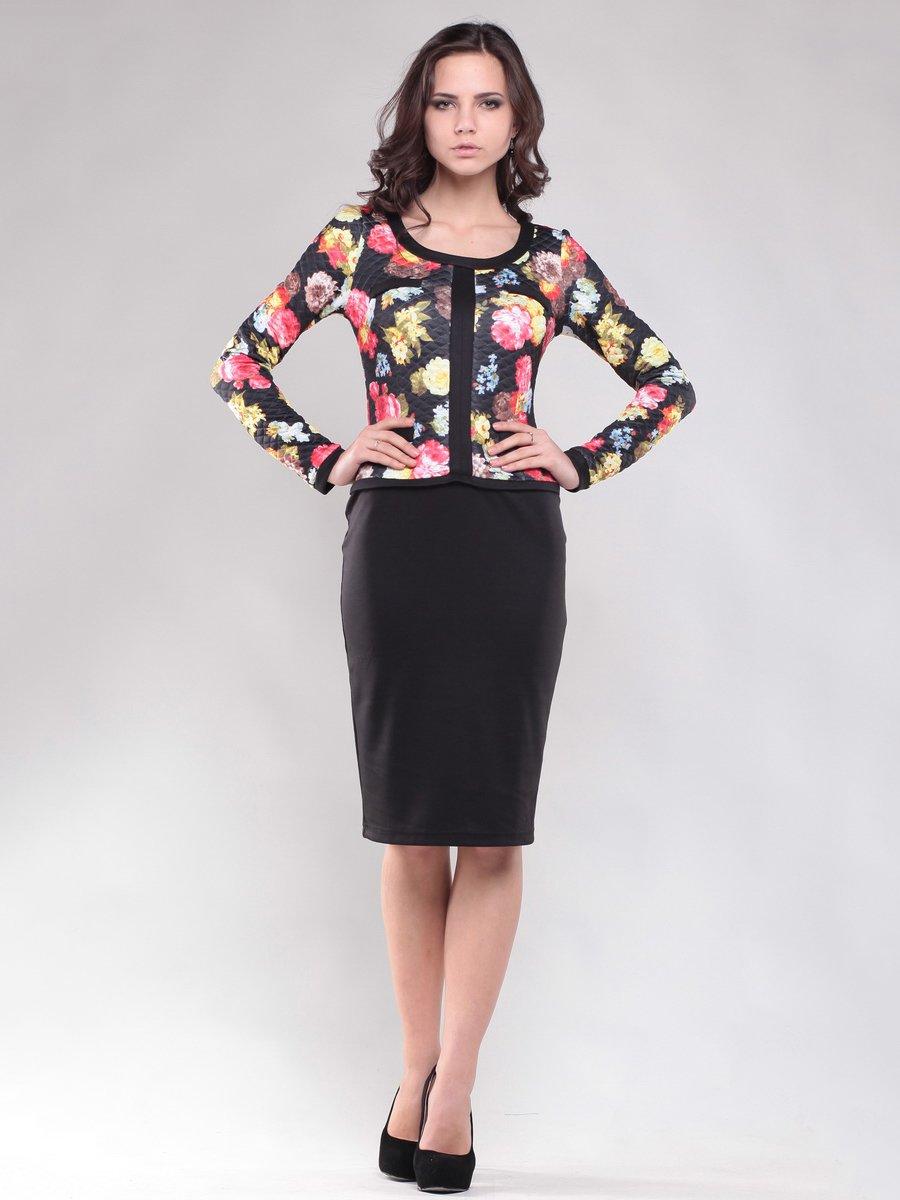 Платье черное в цветочный принт | 1469353