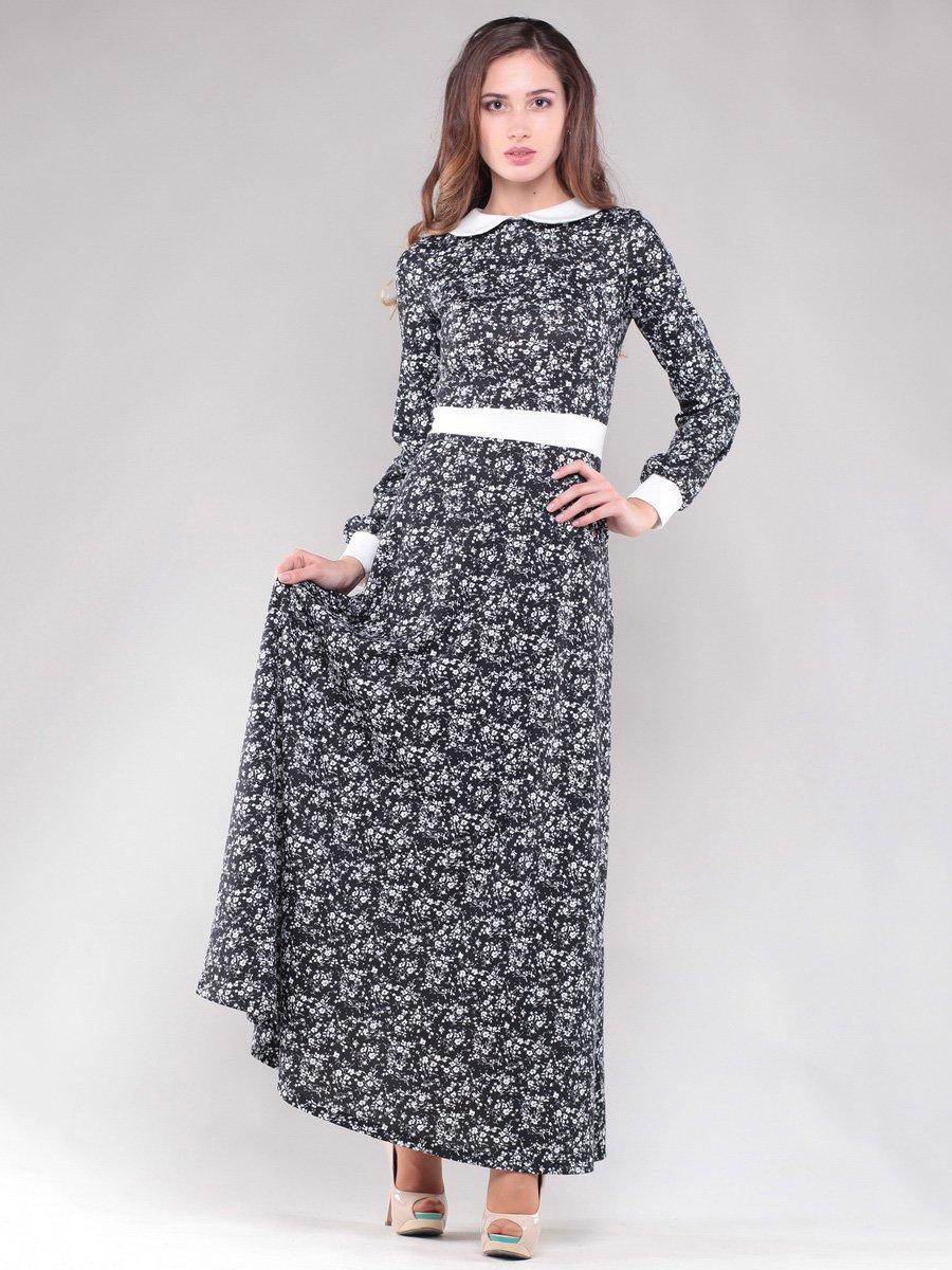 Платье черное в цветочный принт | 1475009