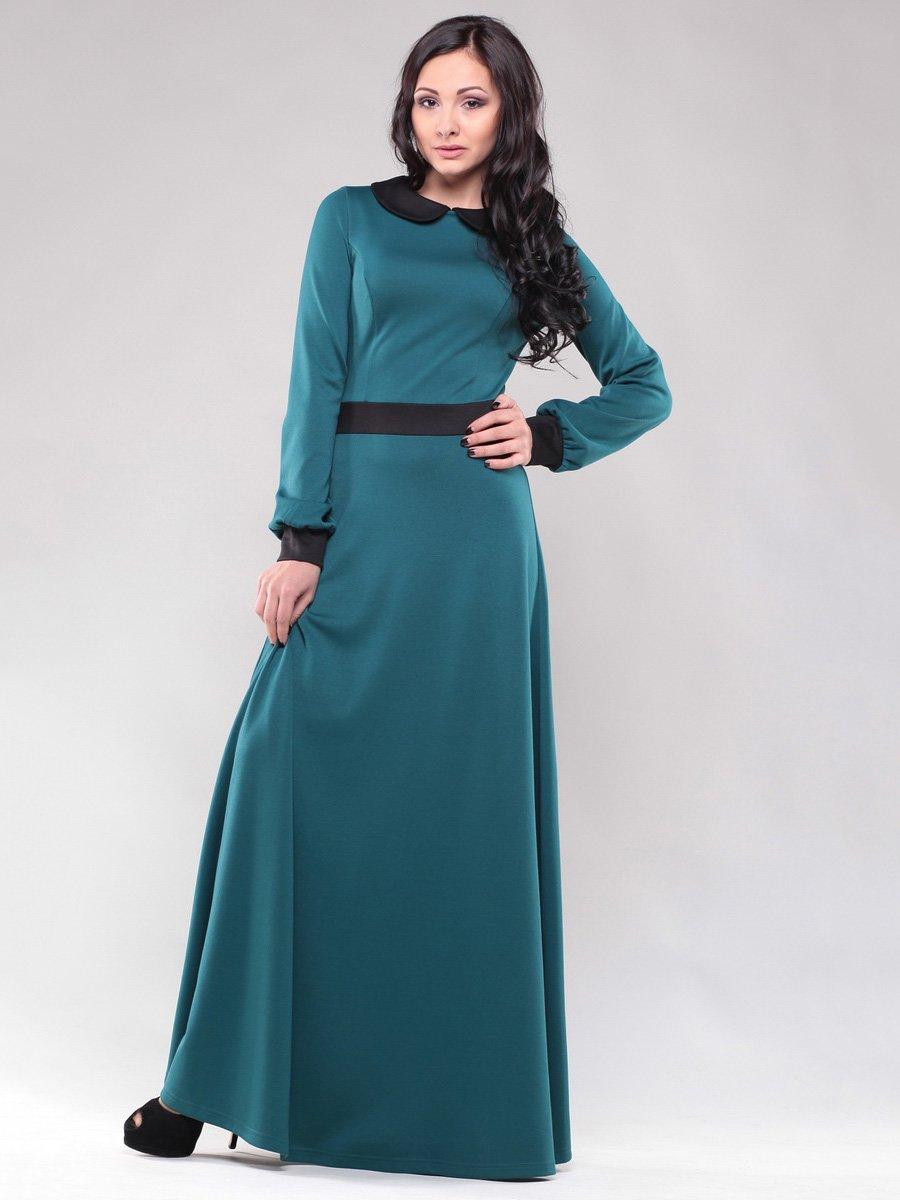 Платье темно-зеленое с отделкой черного цвета | 1475015