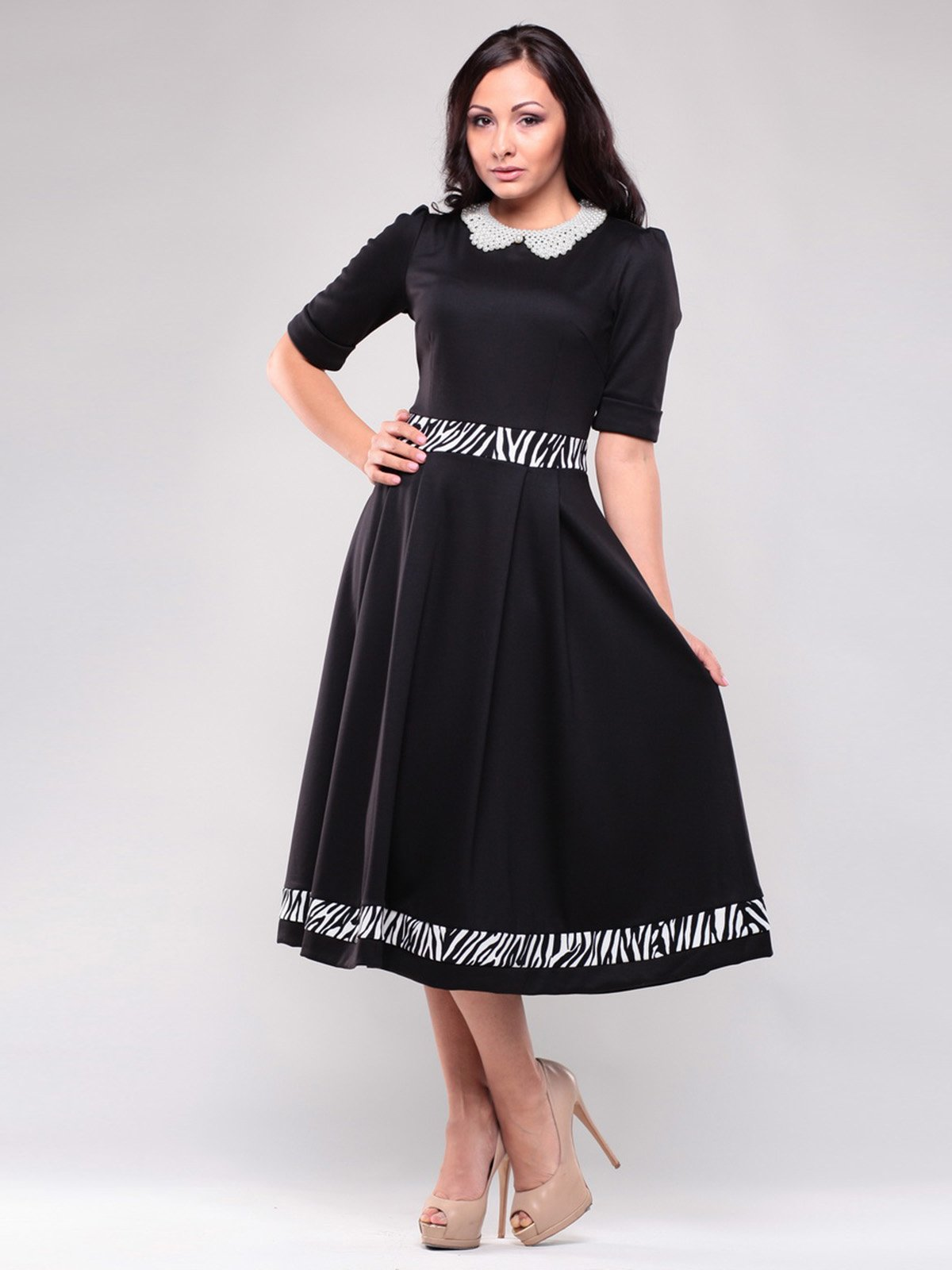 Сукня чорна в принт | 1502819