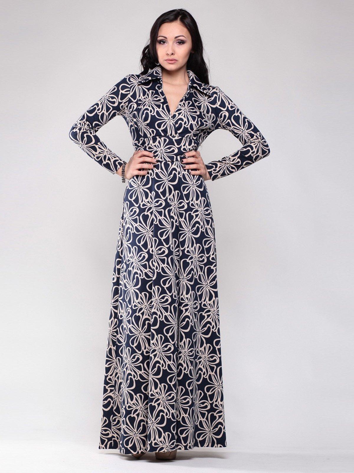 Сукня темно-синя в принт | 1502856