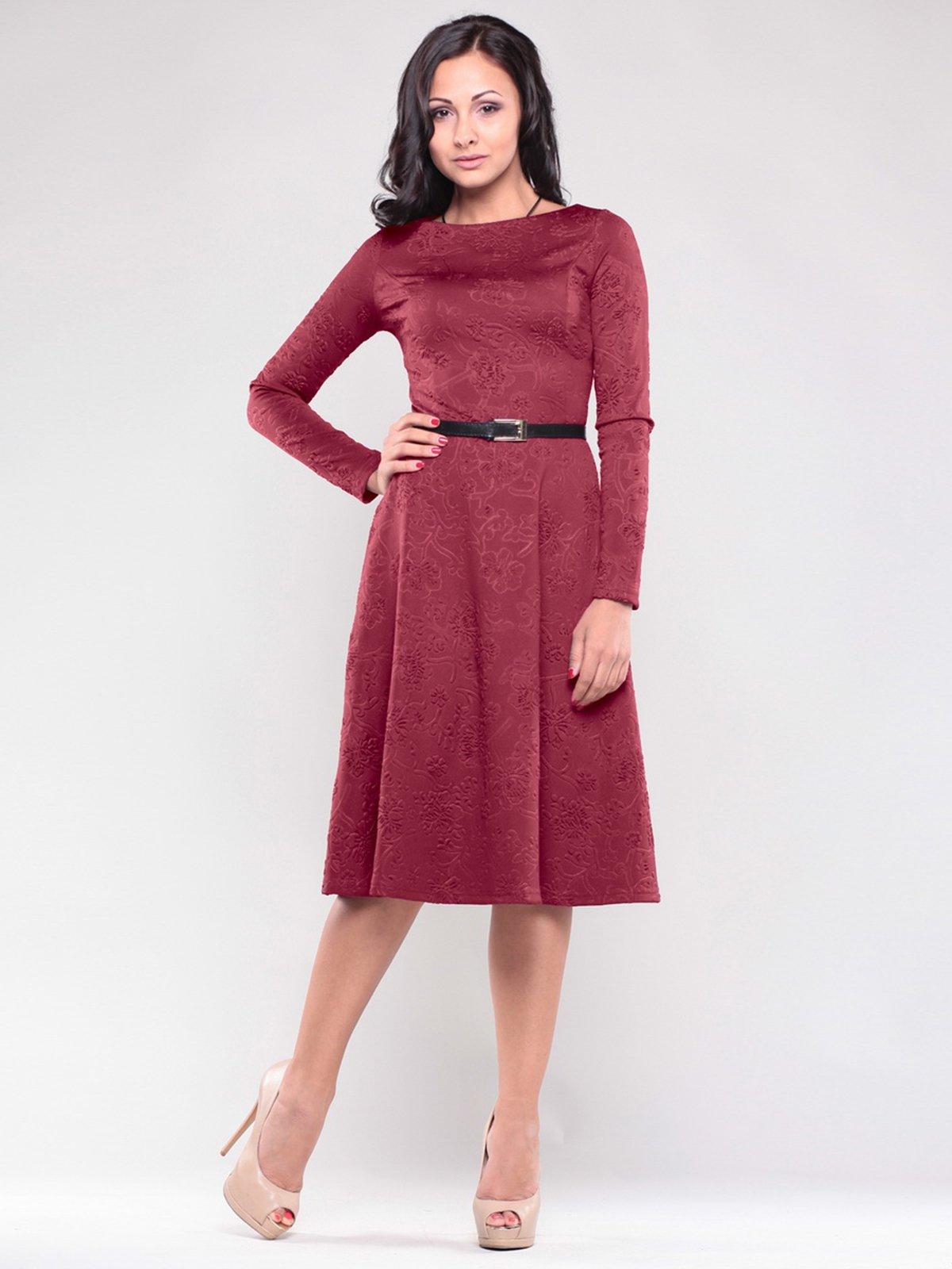 Сукня бордового кольору в принт   1506371