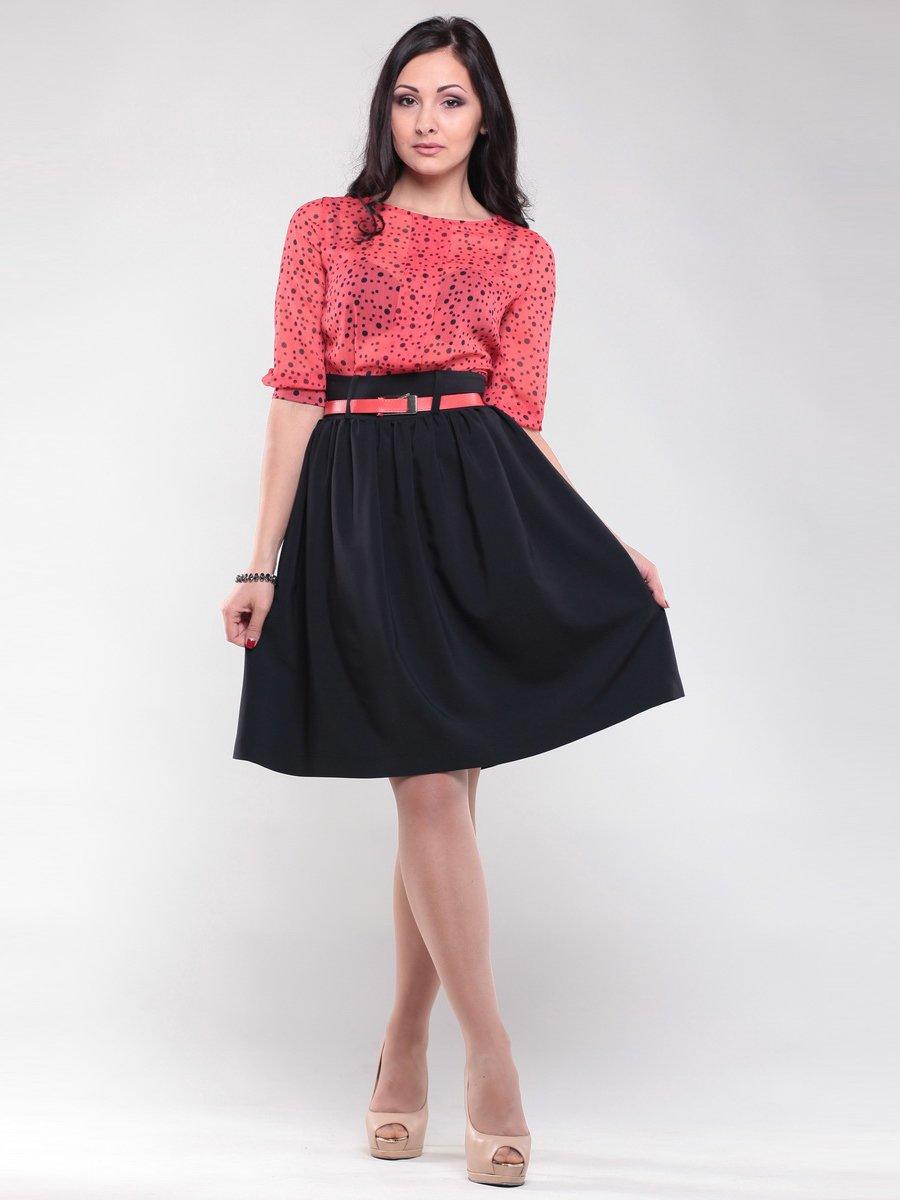 Платье черно-коралловое в горох   1512765