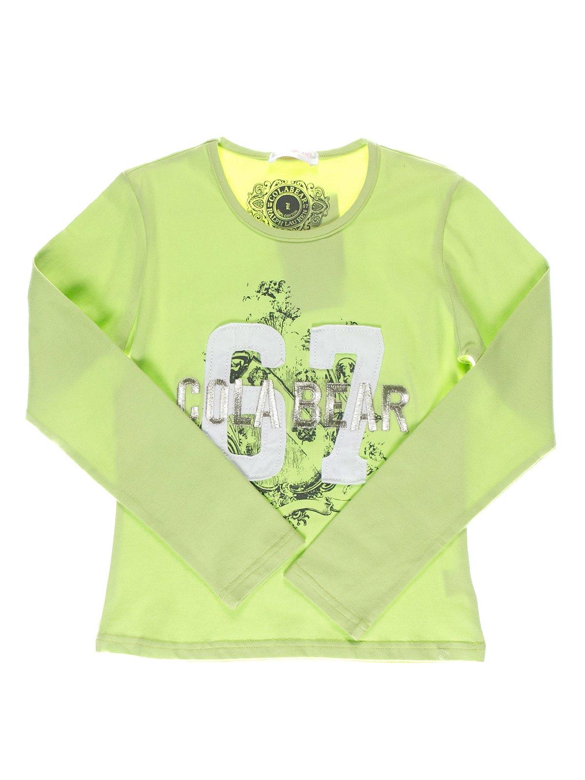 Лонгслив светло-зеленый с принтом | 1364665