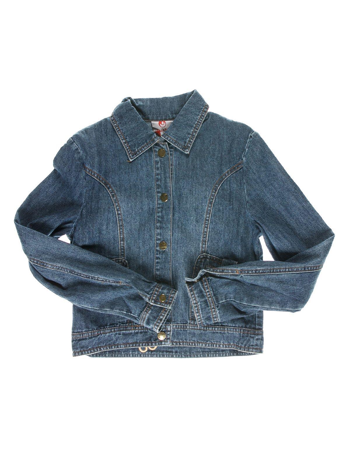 Куртка синя джинсова з аплікаціями на спинці | 1466713