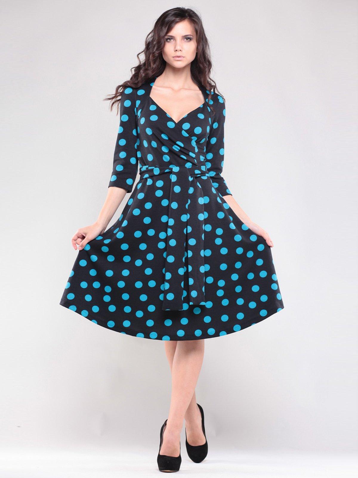 Платье черное в синий горох | 1545320