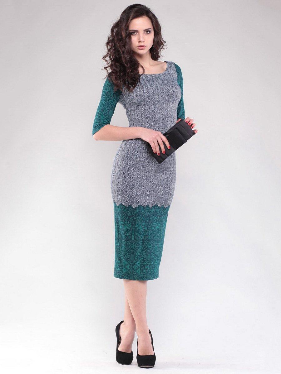Платье серо-зеленое в узор   1549582