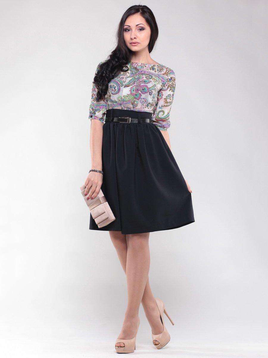 Платье черно-белое в разноцветный узор | 1549616