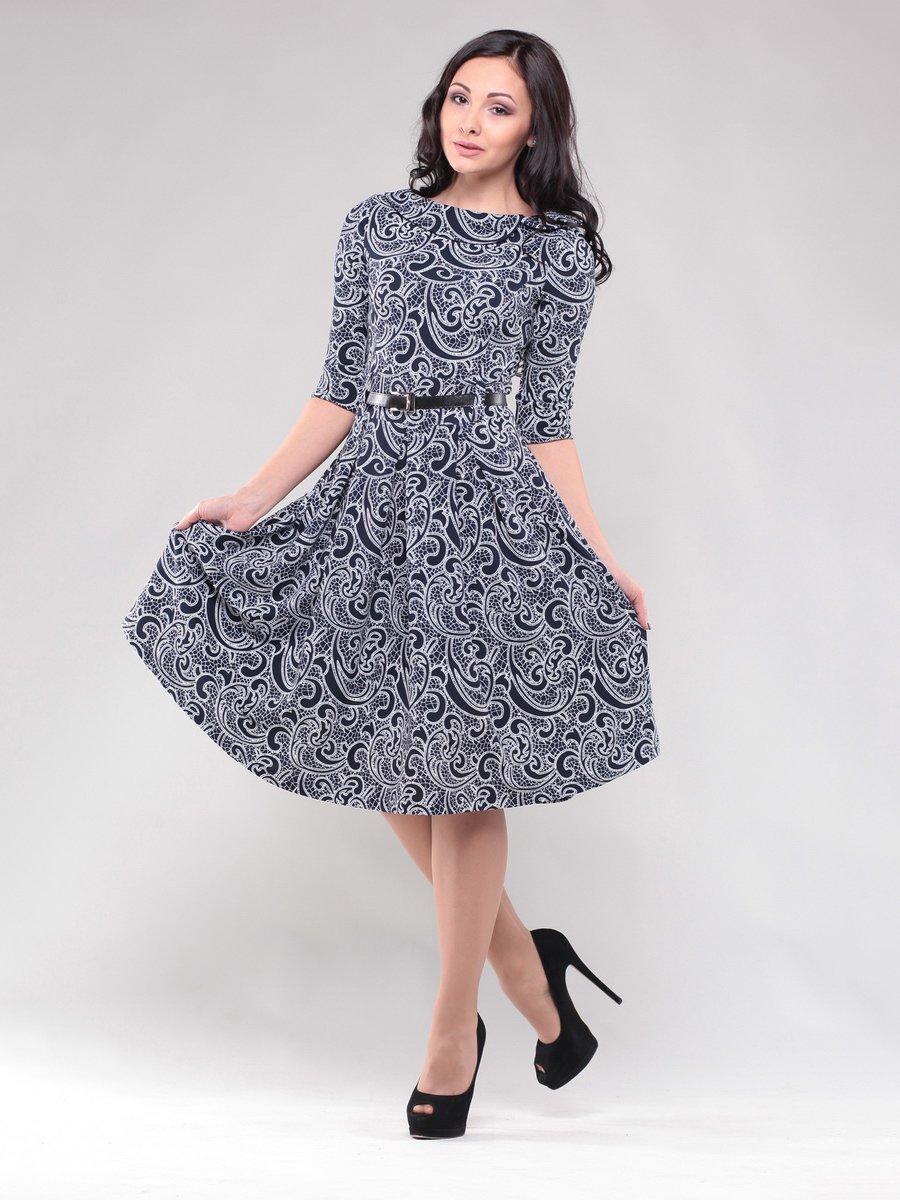 Платье черно-белое в узор | 1549676
