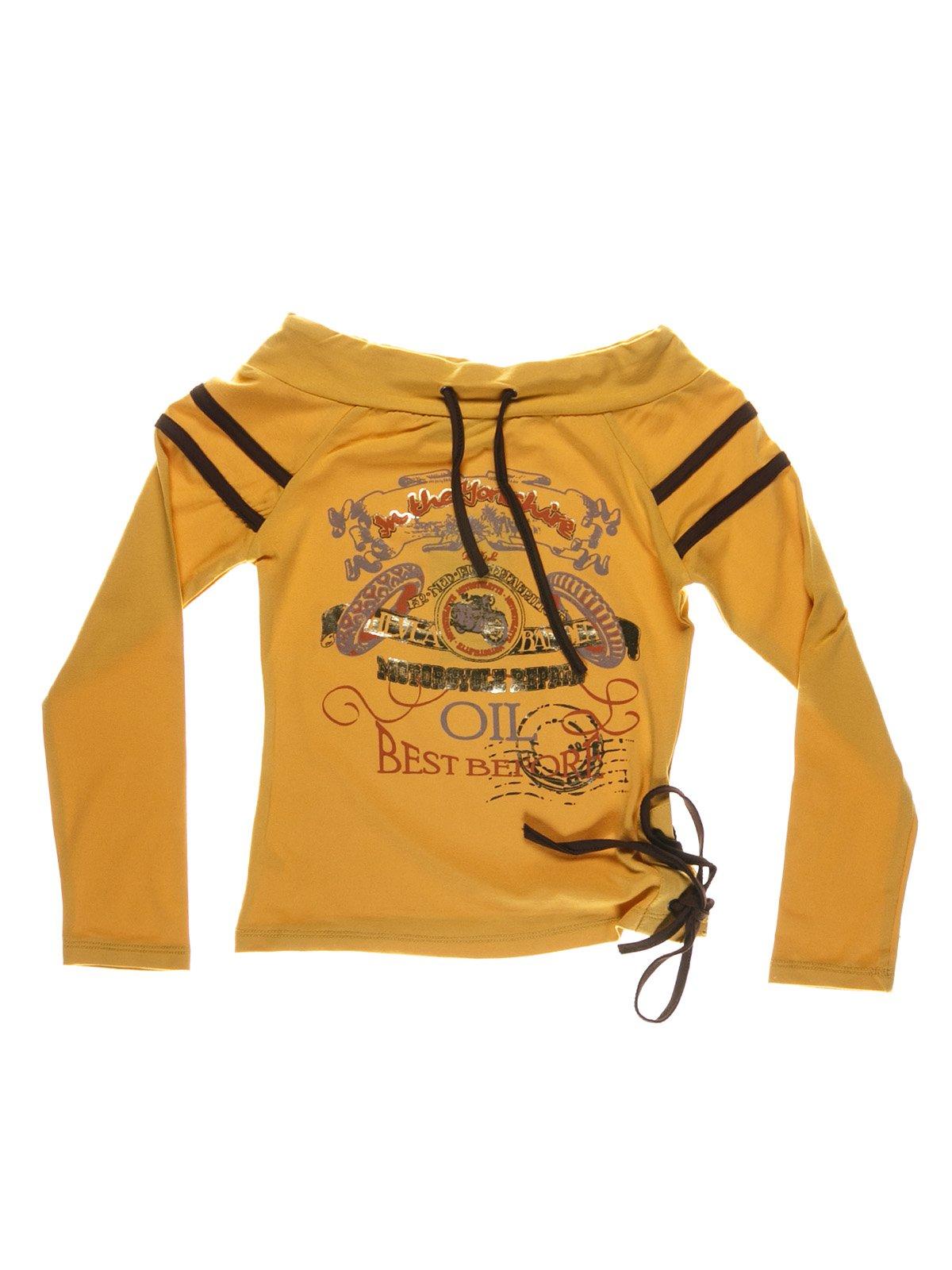 Джемпер желтый с принтом | 1547600