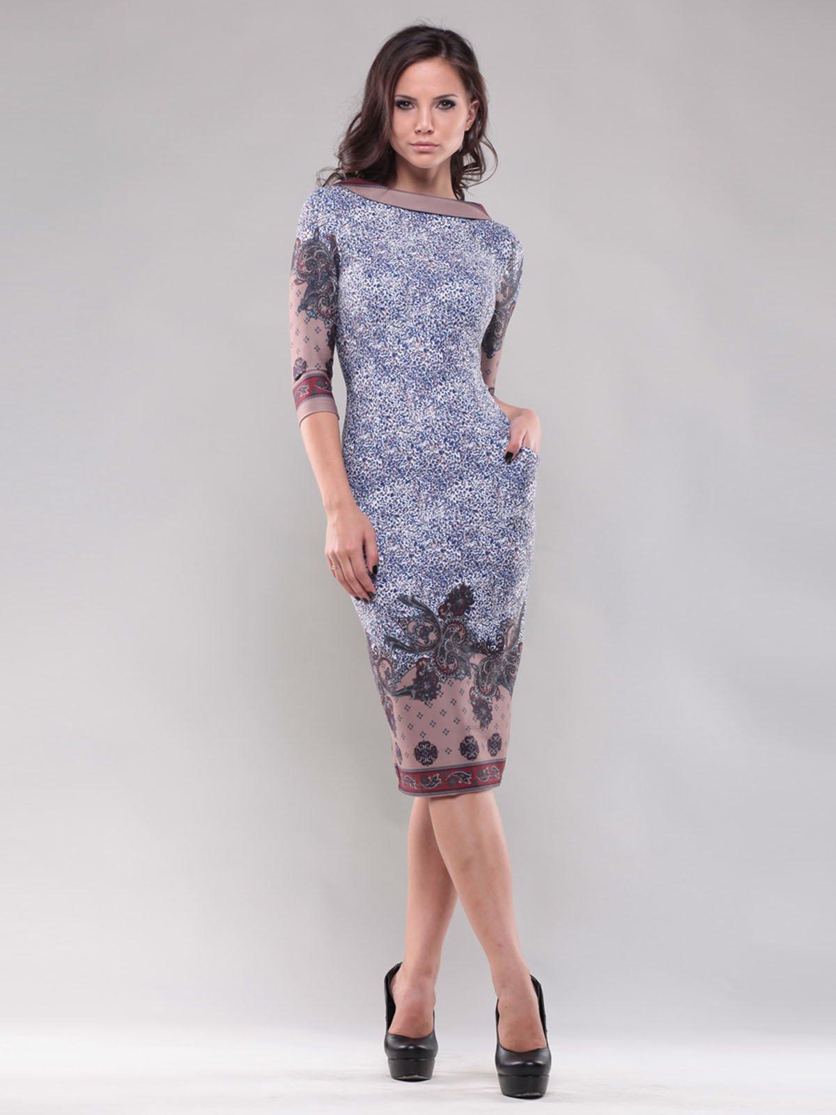 Сукня сіро-коричнева в принт і візерунок | 1556363