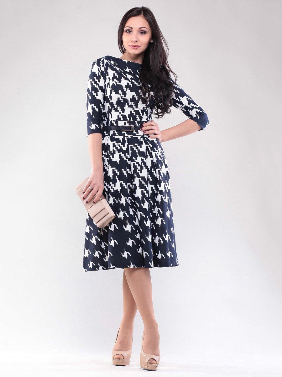 Платье сине-белое в гусиную лапку | 1567708