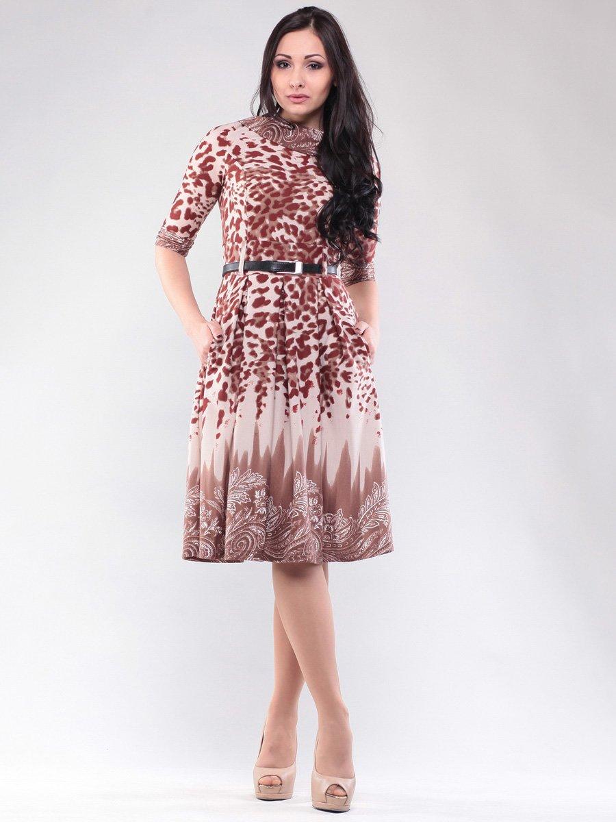 Платье шоколадное в принт | 1567709
