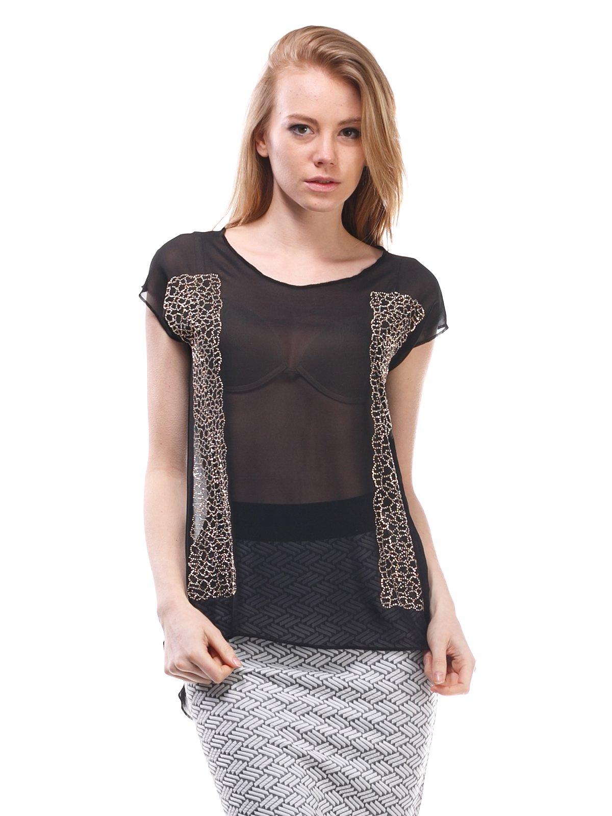 Блуза черная с рисунком   1560241