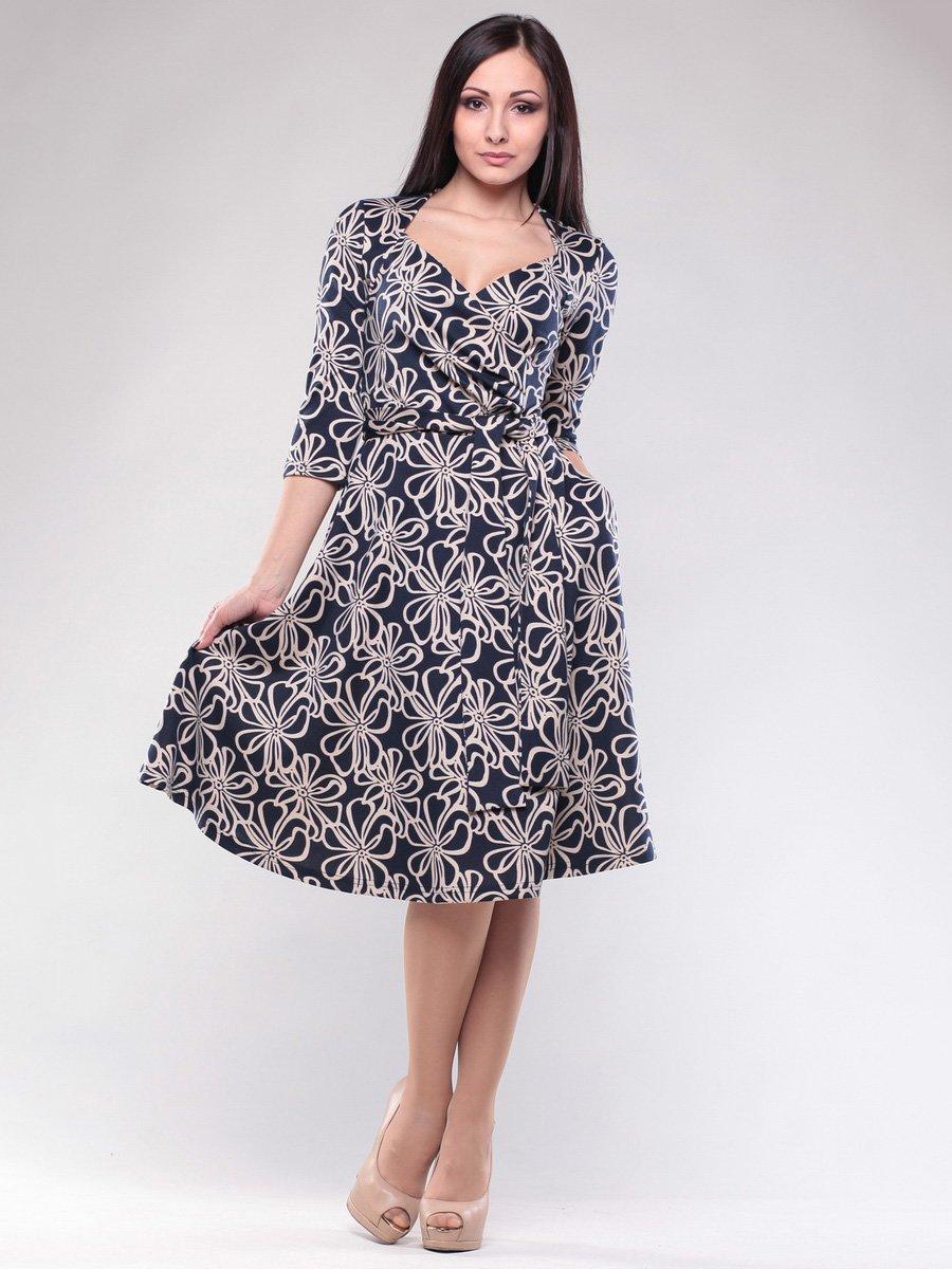 Платье темно-синее в цветочный принт   1574527