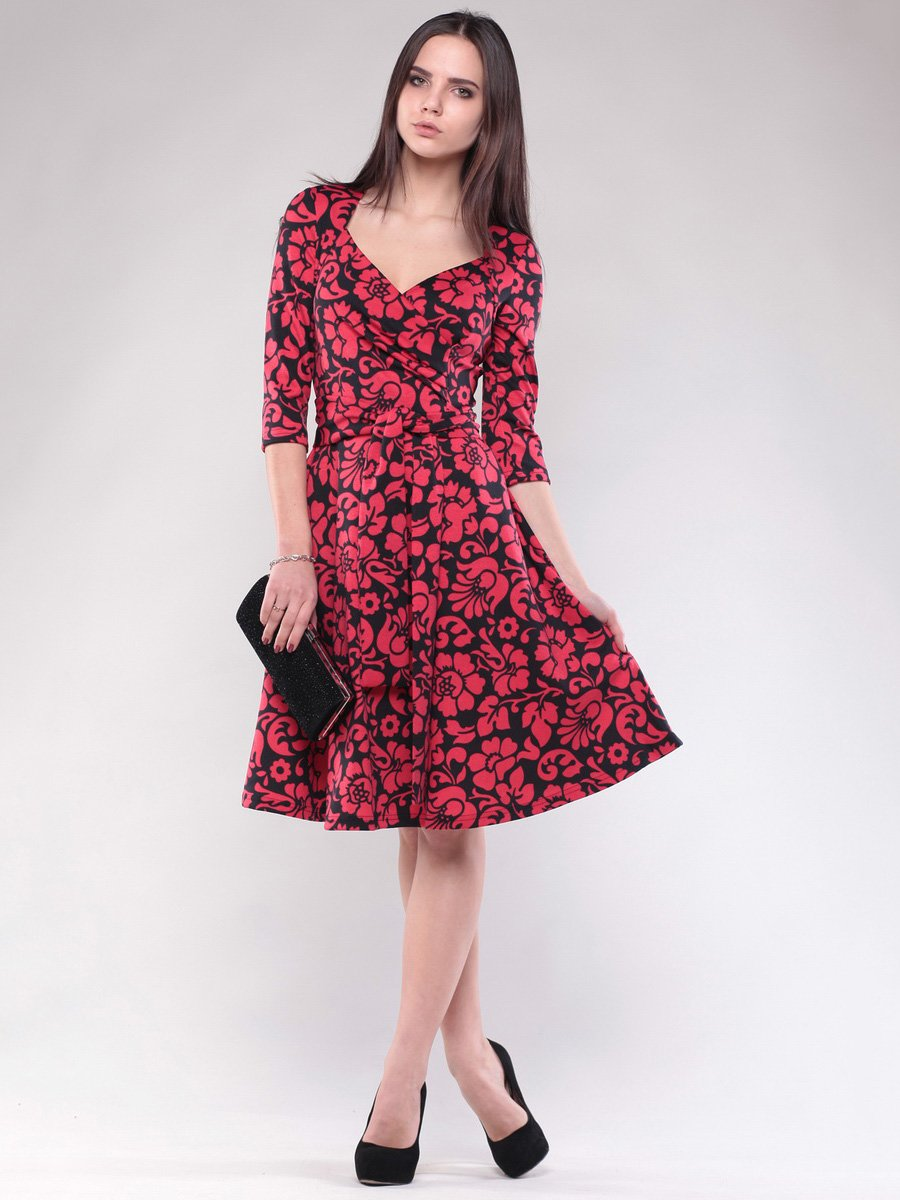 Сукня чорно-червона в квітковий принт   1574528