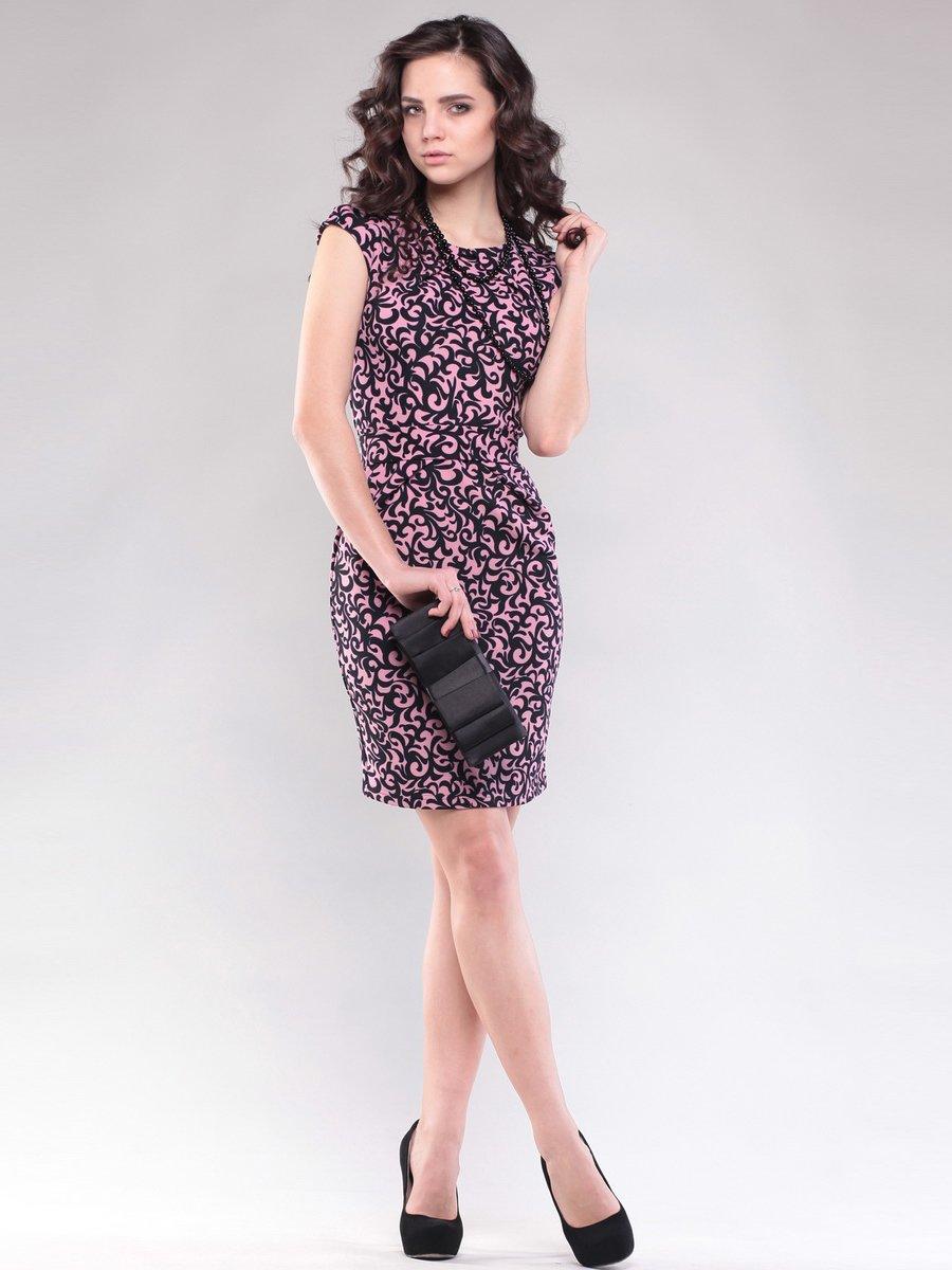 Сукня рожево-чорна у візерунок | 1593202