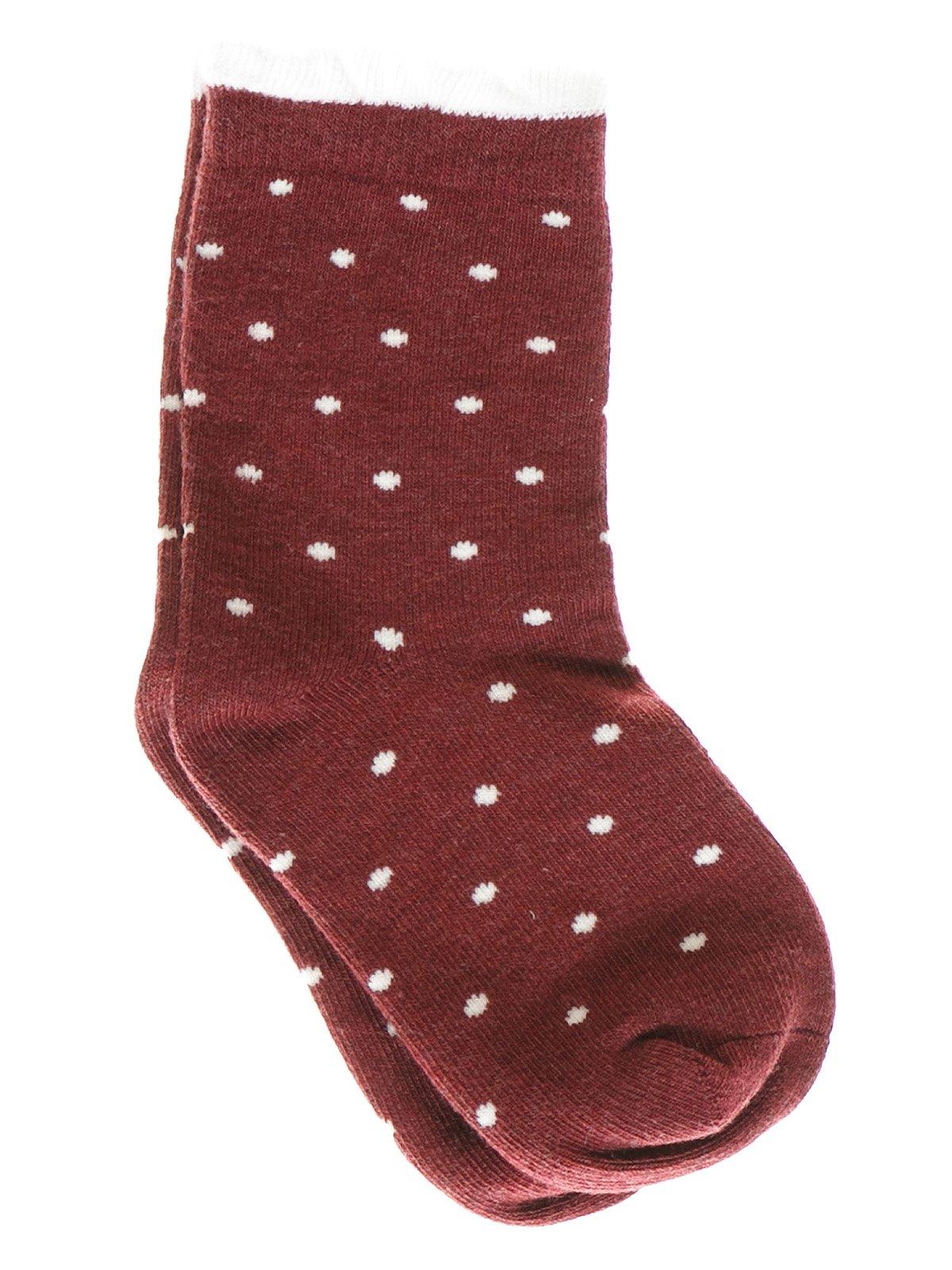 Шкарпетки бордові в горох | 1594013
