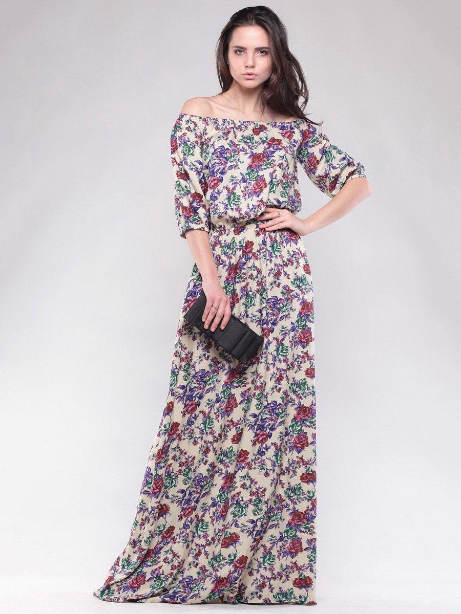 Платье бежевое в цветочный принт | 1599775