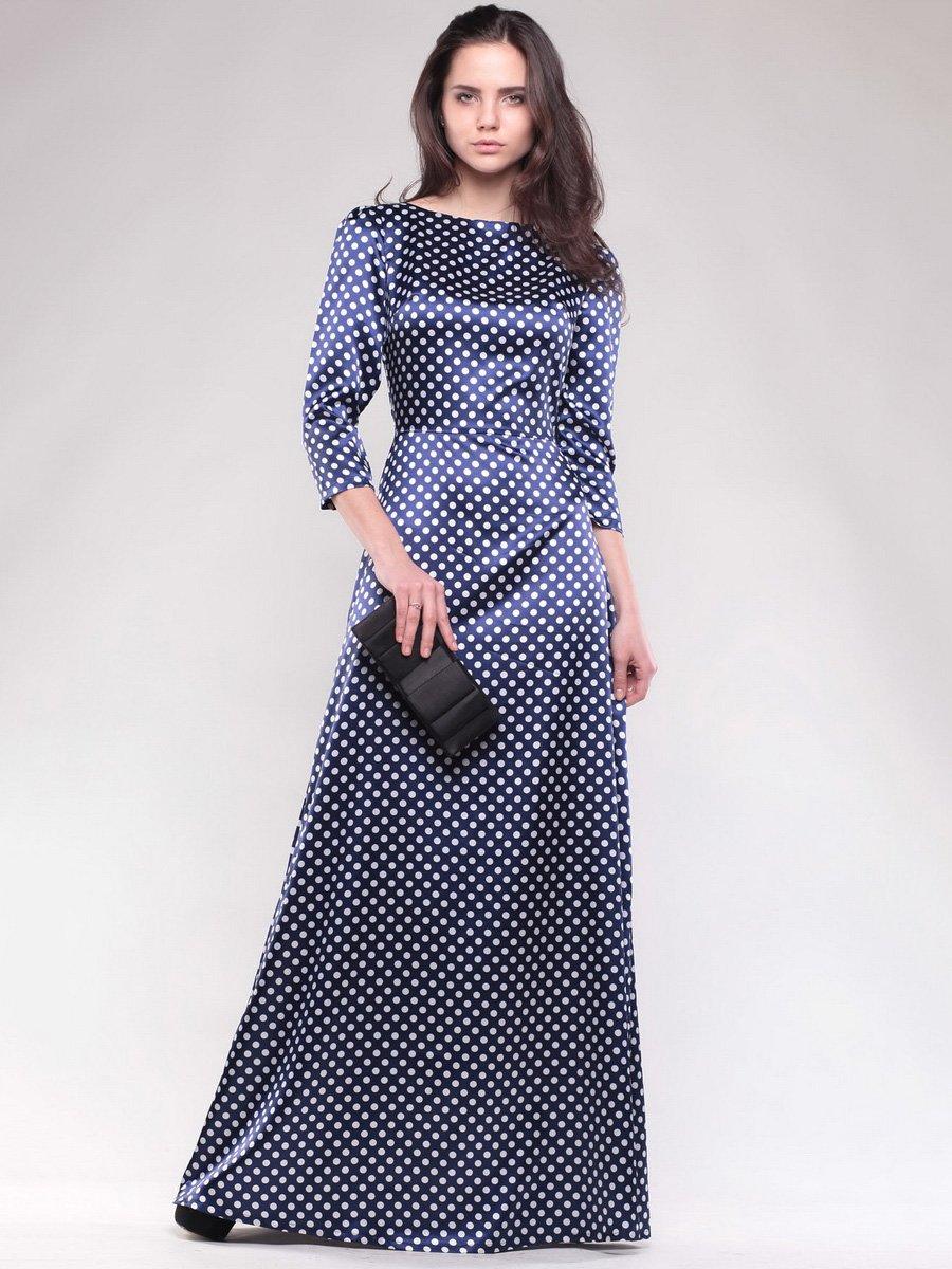 Сукня темно-синя в білий горох | 1599796