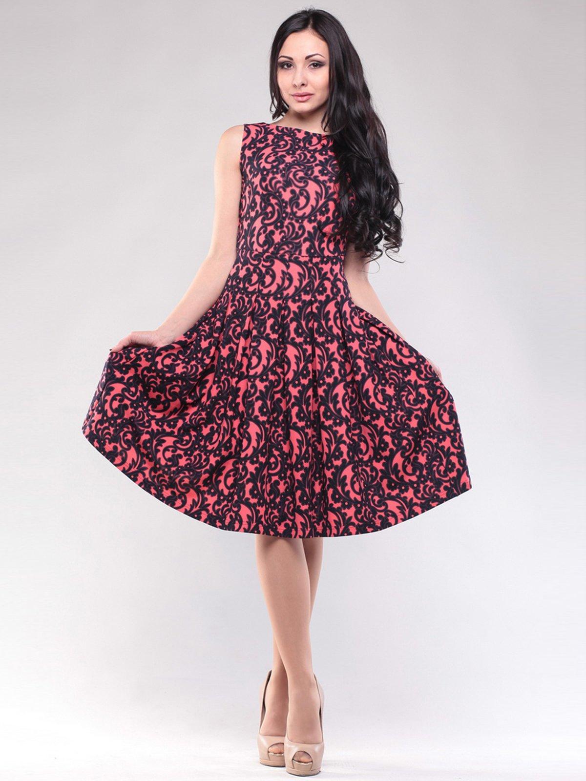 Сукня коралово-чорна в принт   1608589