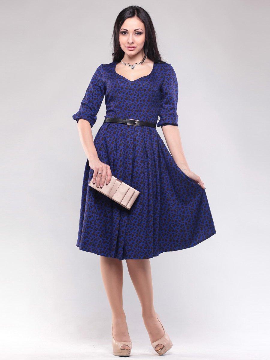 Платье синее в абстрактный принт | 1608608