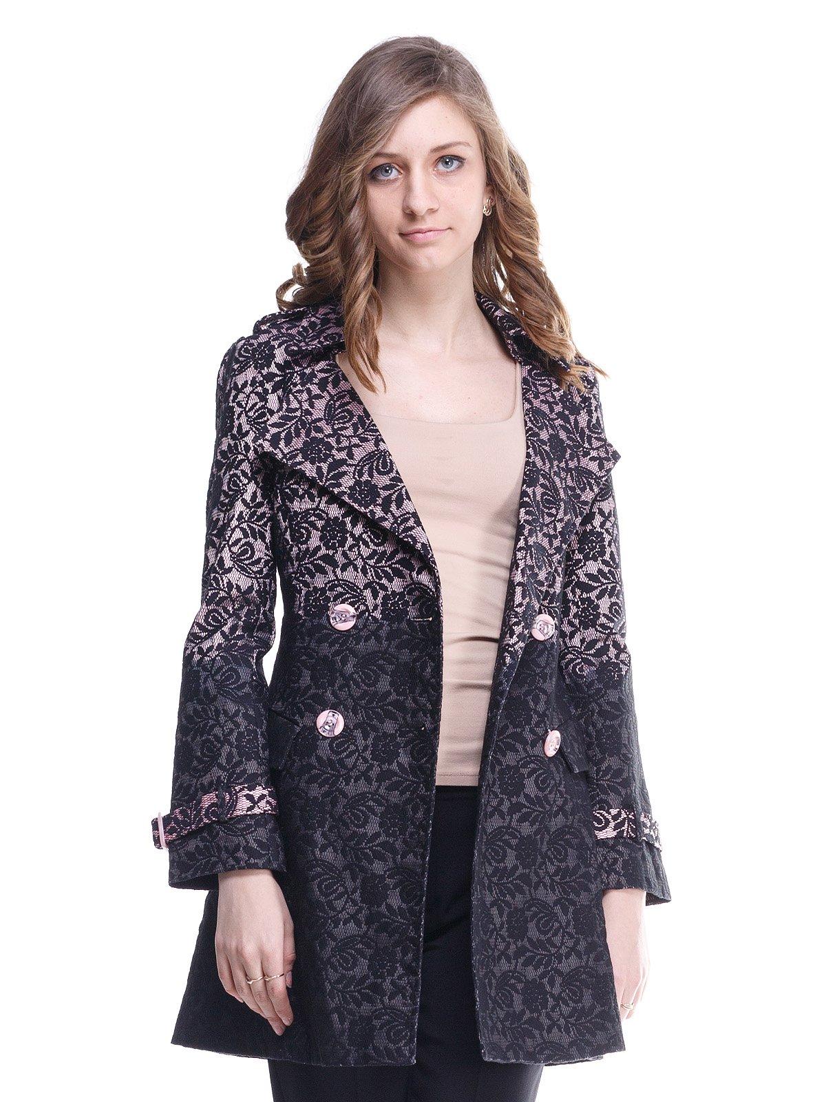 Пальто чорно-рожева | 1615460