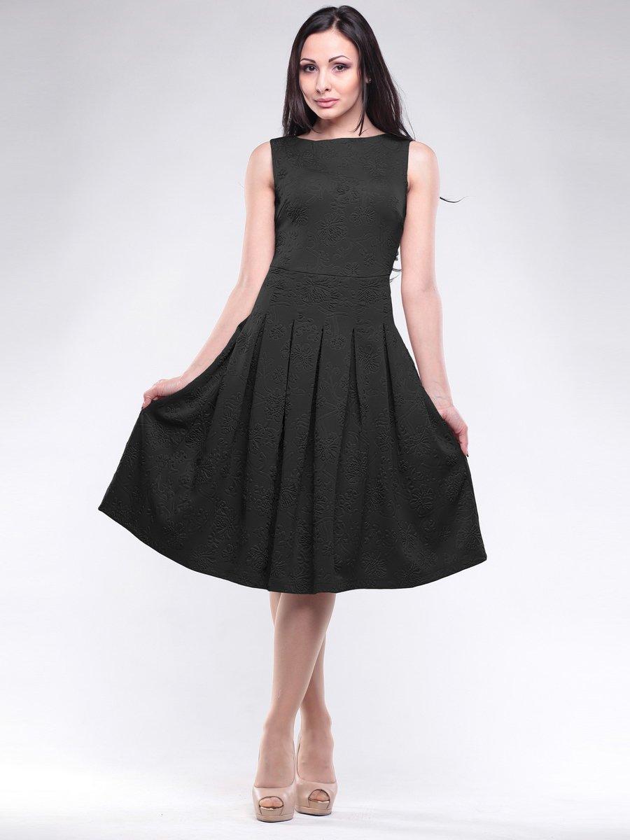 Платье черное в цветочный рисунок | 1619656