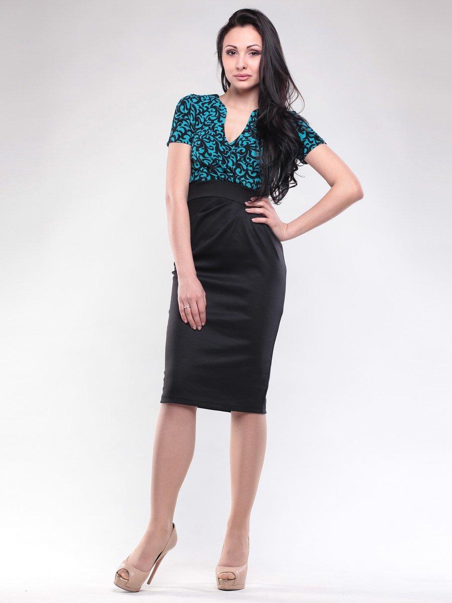 Платье бирюзово-черное с принтом | 1619675