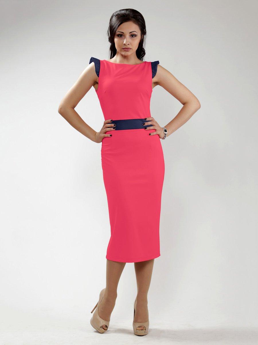 Платье красное с контрастной отделкой   1633333