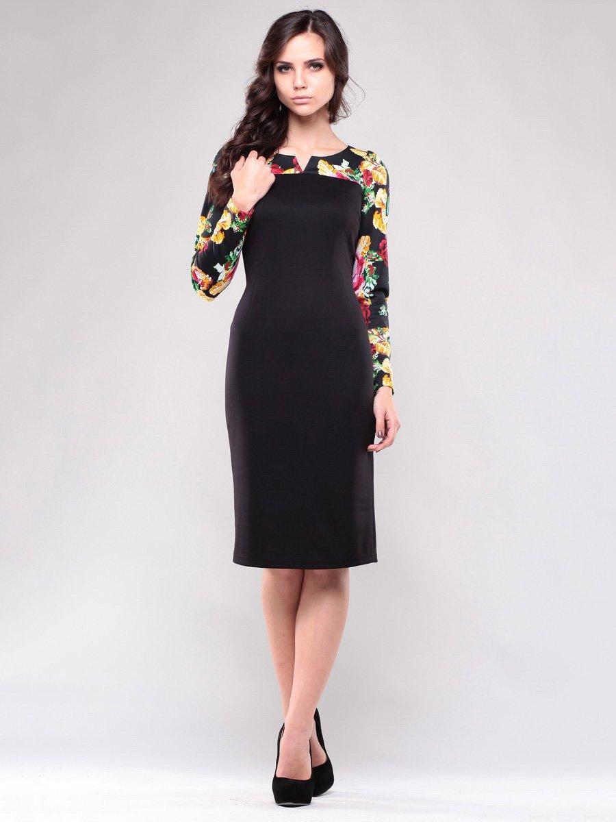Сукня чорна з квітковим принтом | 1638426