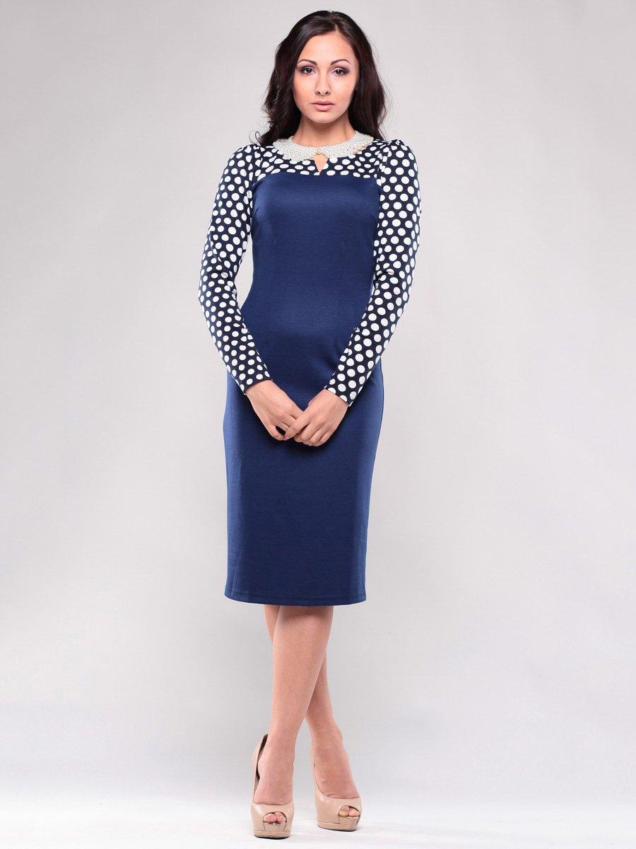 Сукня темно-синя в білий горох | 1638428