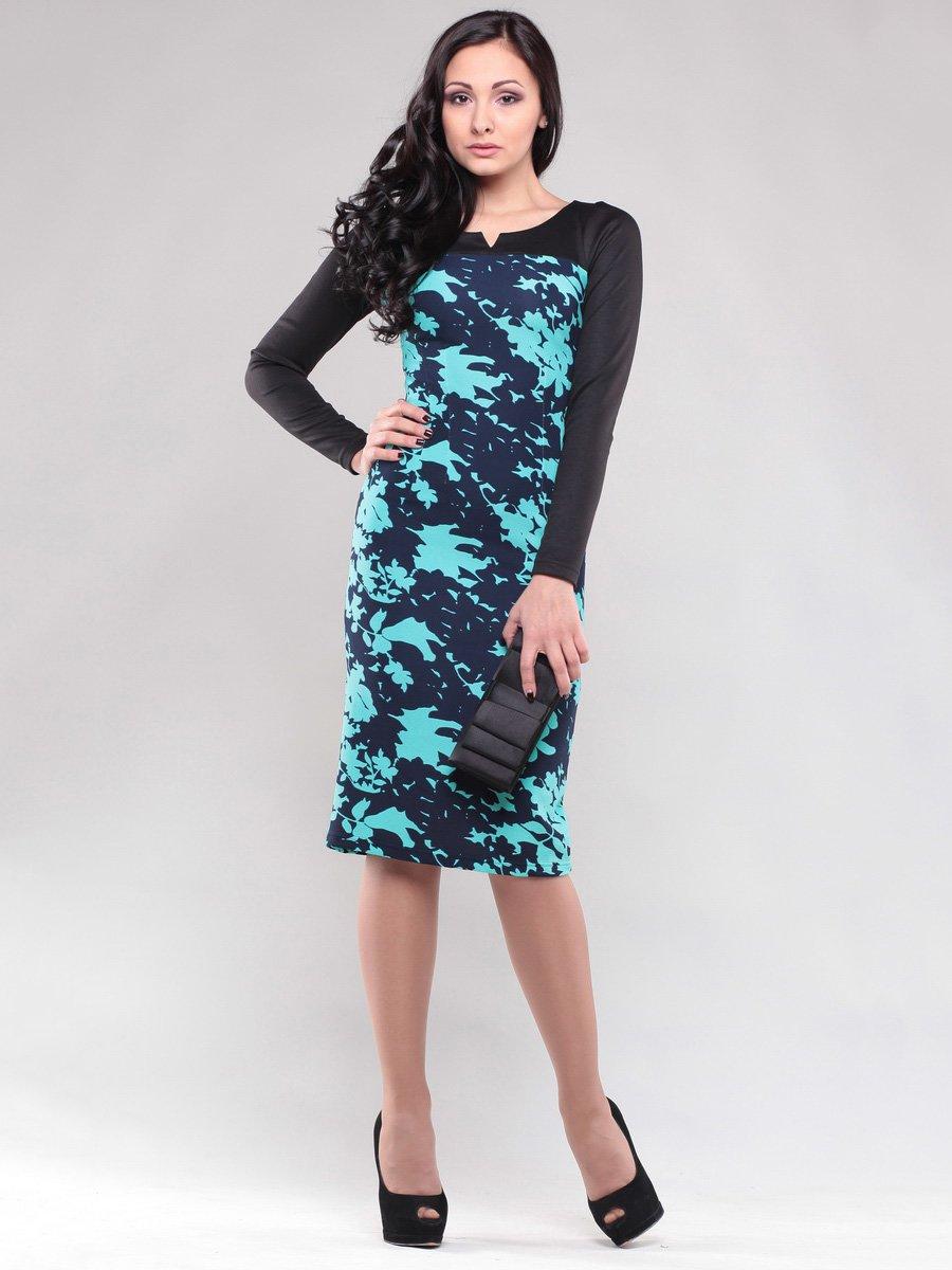 Платье черно-бирюзовое в принт   1638430