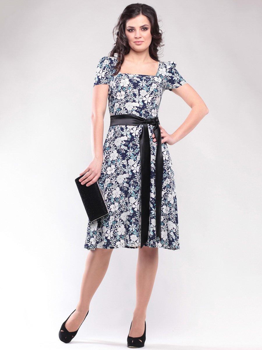 Платье синее в цветочный принт | 1647183