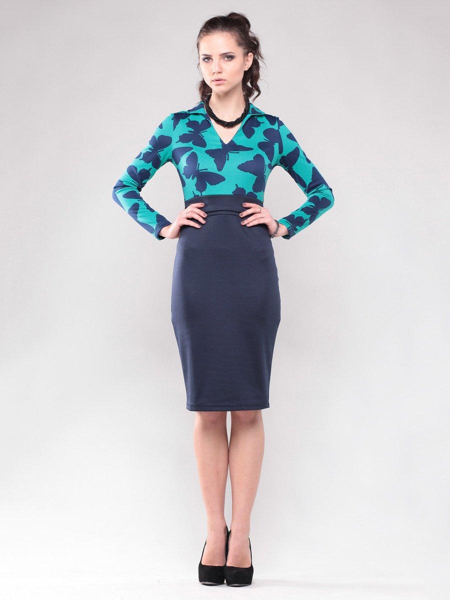 Платье зелено-синее в принт | 1647559