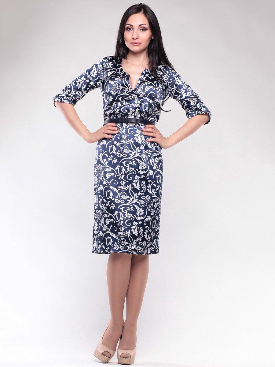 Платье синее в узор | 1659656