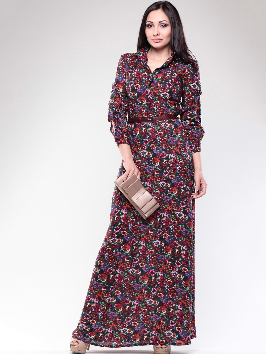 Платье темно-синее в цветочный принт | 1679564