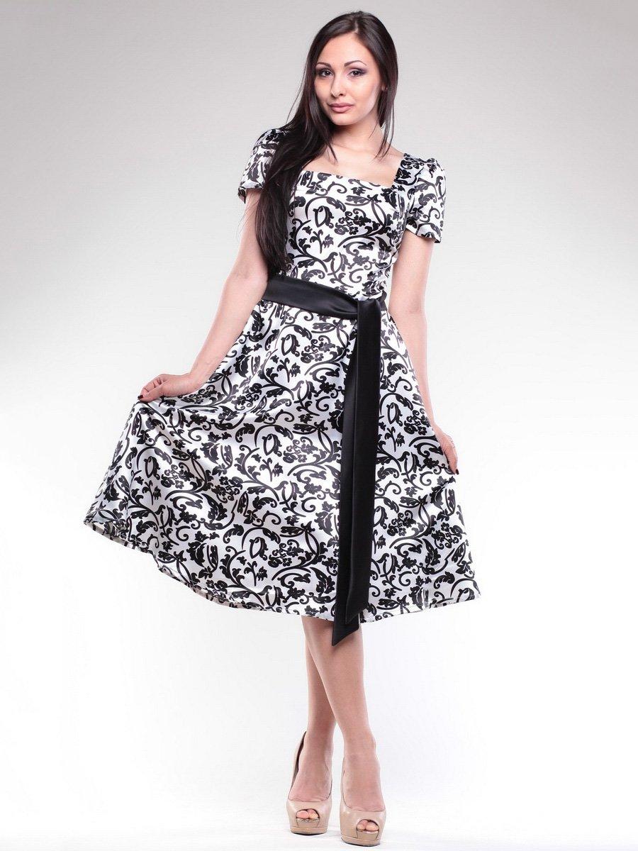 Платье бело-черное в принт | 1716882