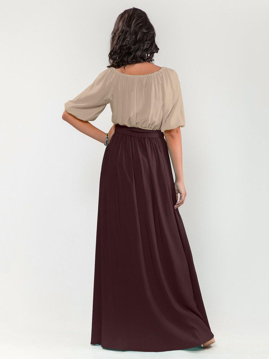 Платье цвета мокко с шоколадом | 1717256 | фото 2