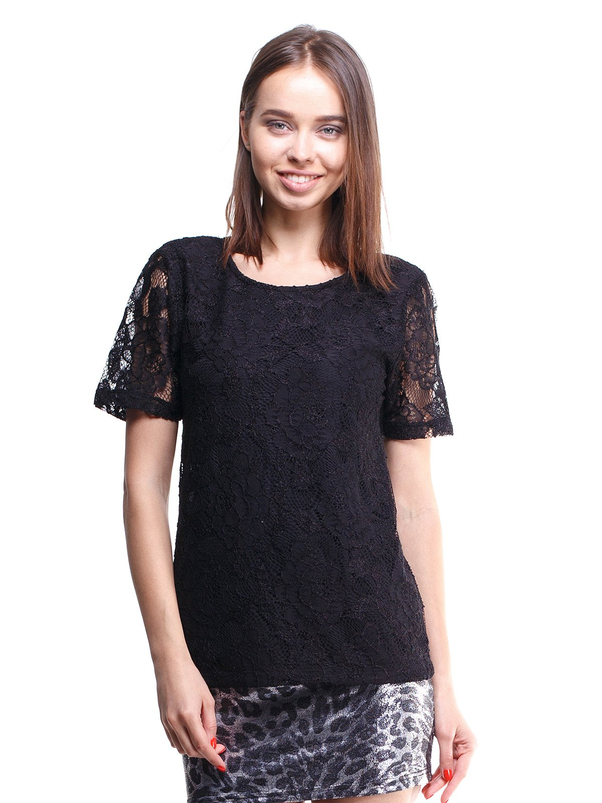 Блуза чорна ажурна | 1480741