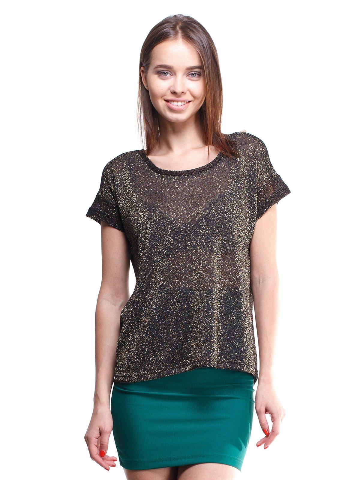 Блуза чорно-золотава з люрексом | 1443489