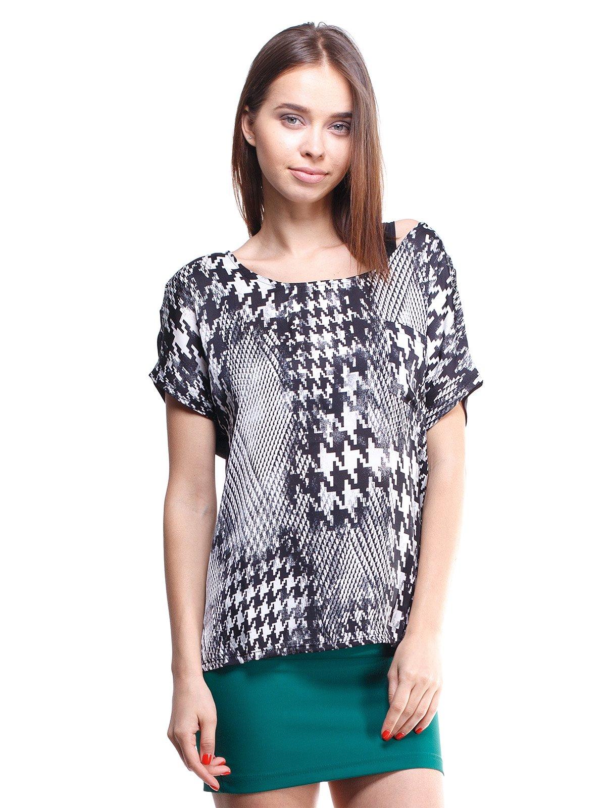 Блуза чорна з візерунком у гусячу лапку | 329125