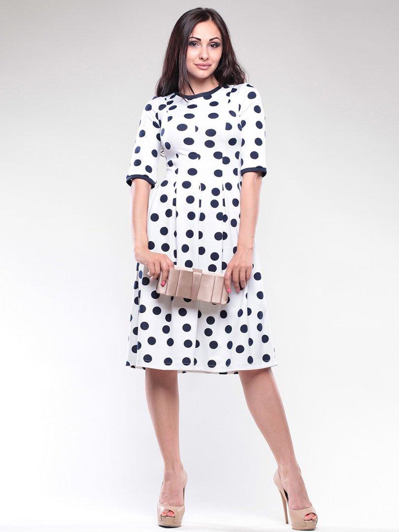 Платье белое в черный горох   1726808